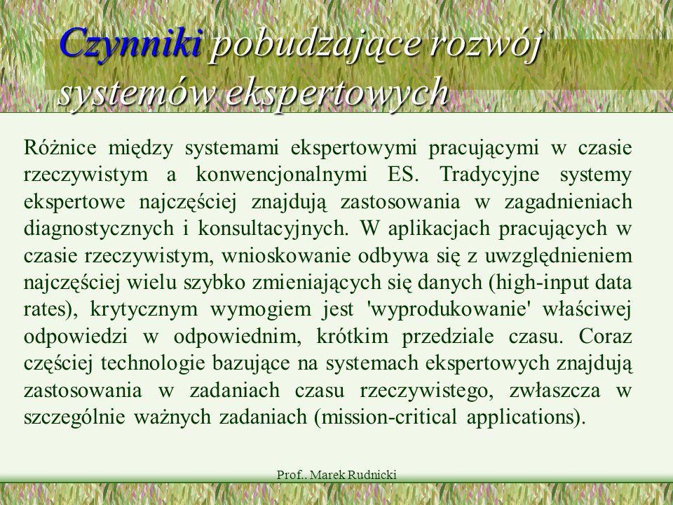 Prof.. Marek Rudnicki Czynniki pobudzające rozwój systemów ekspertowych Różnice między systemami ekspertowymi pracującymi w czasie rzeczywistym a konw