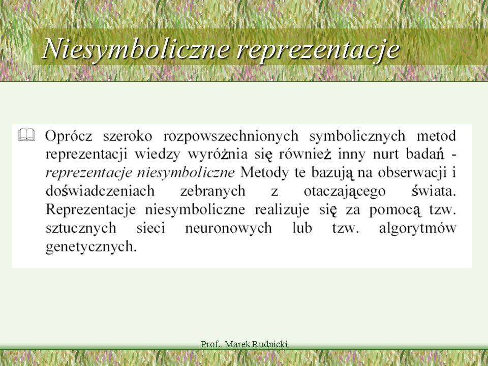 Prof.. Marek Rudnicki Niesymboliczne reprezentacje