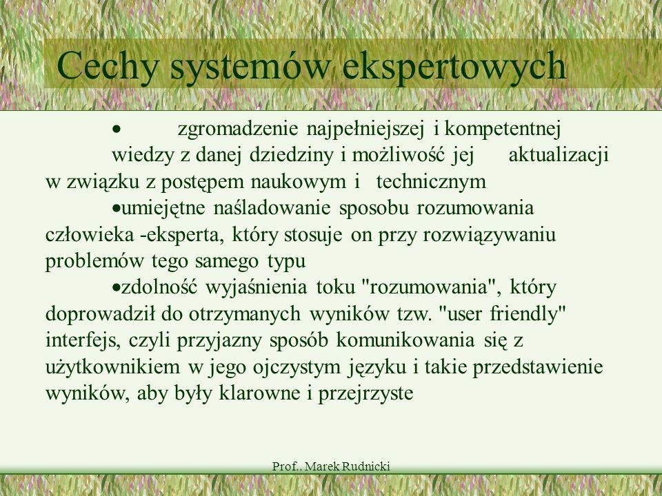 Prof.. Marek Rudnicki Cechy systemów ekspertowych zgromadzenie najpełniejszej i kompetentnej wiedzy z danej dziedziny i możliwość jej aktualizacji w z