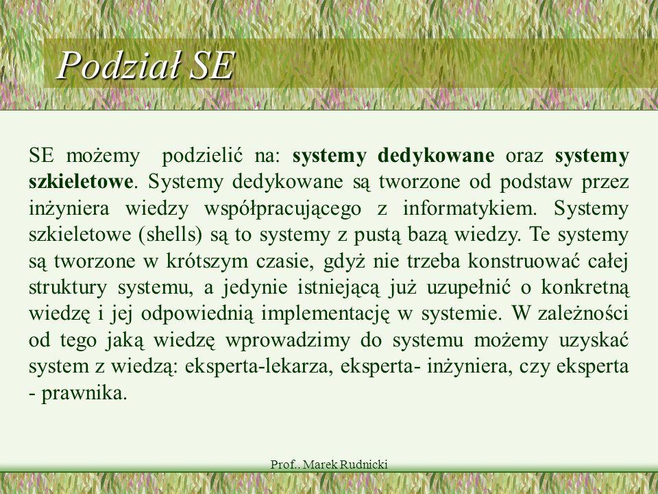 Prof.. Marek Rudnicki Podział SE SE możemy podzielić na: systemy dedykowane oraz systemy szkieletowe. Systemy dedykowane są tworzone od podstaw przez