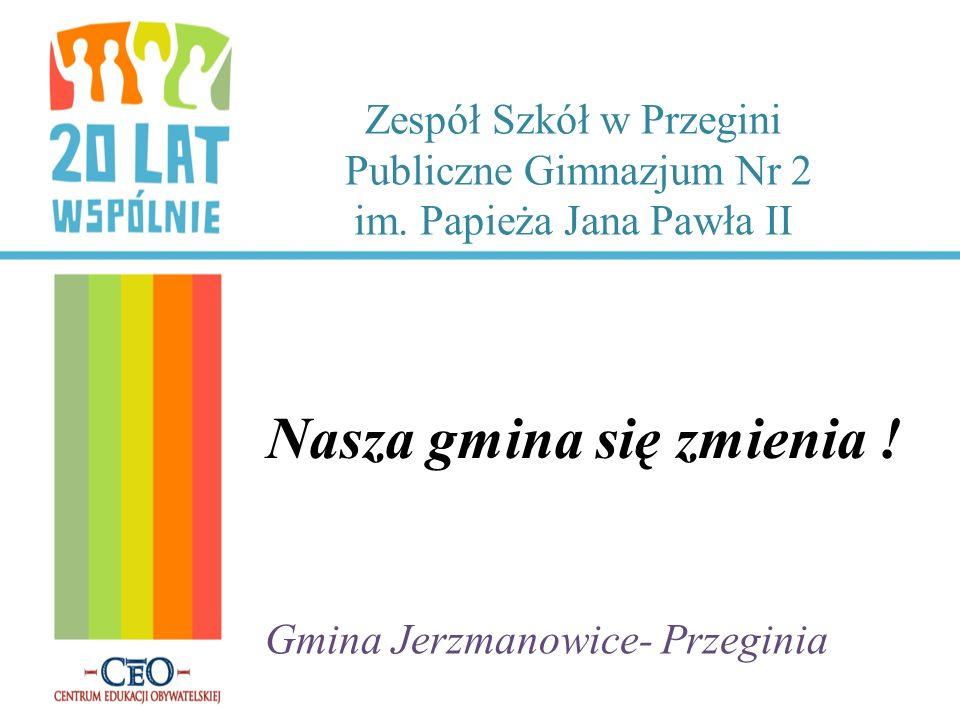 Zespół Szkół w Przegini Publiczne Gimnazjum Nr 2 im. Papieża Jana Pawła II Nasza gmina się zmienia ! Gmina Jerzmanowice- Przeginia