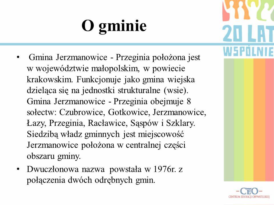 Gmina Jerzmanowice - Przeginia położona jest w województwie małopolskim, w powiecie krakowskim. Funkcjonuje jako gmina wiejska dzieląca się na jednost