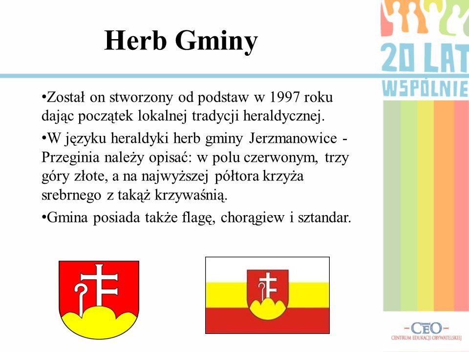 Herb Gminy Został on stworzony od podstaw w 1997 roku dając początek lokalnej tradycji heraldycznej. W języku heraldyki herb gminy Jerzmanowice - Prze