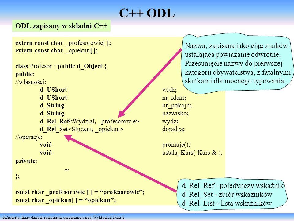 K.Subieta. Bazy danych i inżynieria oprogramowania, Wykład 12, Folia 8 extern const char _profesorowie[ ]; extern const char _opiekun[ ]; class Profes