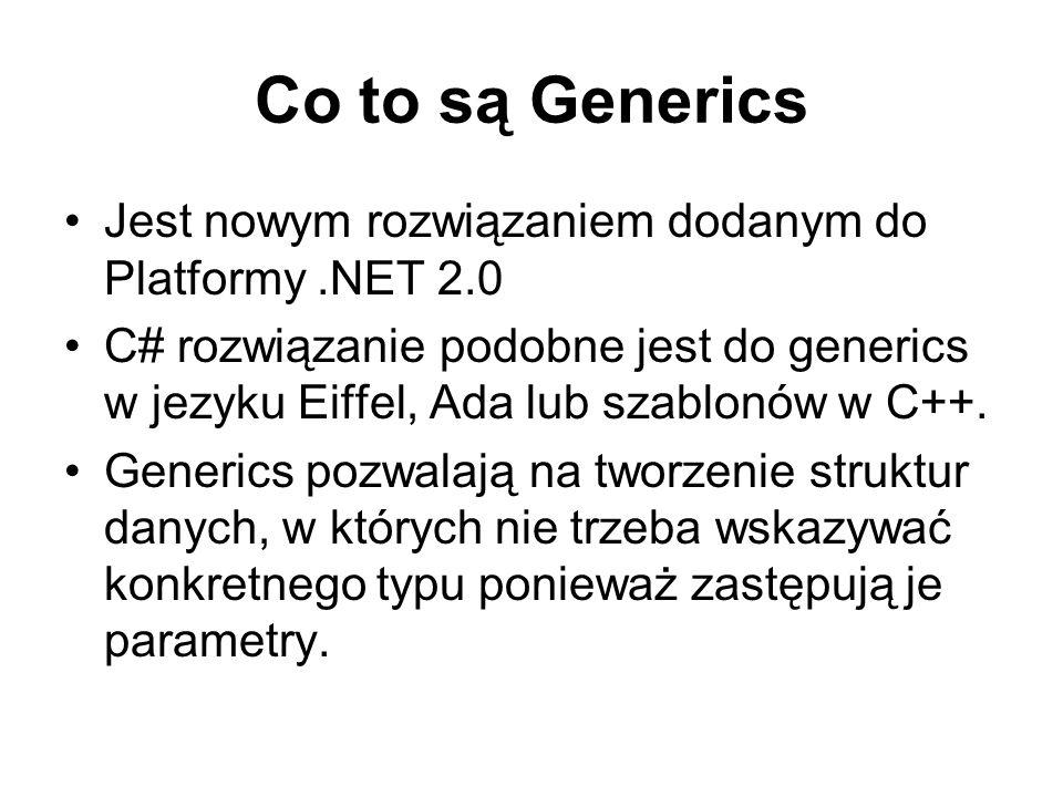 Co to są Generics Jest nowym rozwiązaniem dodanym do Platformy.NET 2.0 C# rozwiązanie podobne jest do generics w jezyku Eiffel, Ada lub szablonów w C+