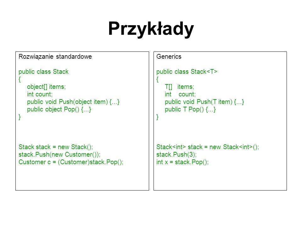 Przykłady Rozwiązanie standardowe public class Stack { object[] items; int count; public void Push(object item) {...} public object Pop() {...} } Stac