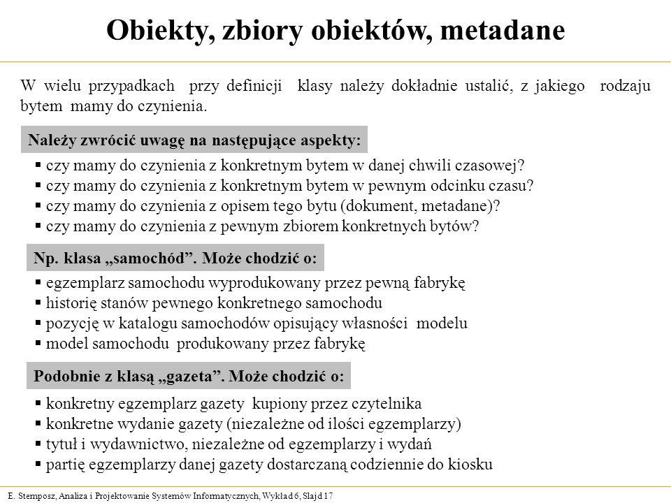 E. Stemposz, Analiza i Projektowanie Systemów Informatycznych, Wykład 6, Slajd 17 Obiekty, zbiory obiektów, metadane W wielu przypadkach przy definicj