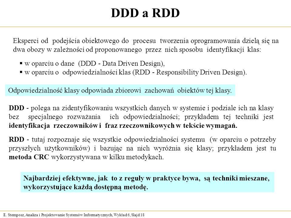 E. Stemposz, Analiza i Projektowanie Systemów Informatycznych, Wykład 6, Slajd 18 DDD a RDD Eksperci od podejścia obiektowego do procesu tworzenia opr