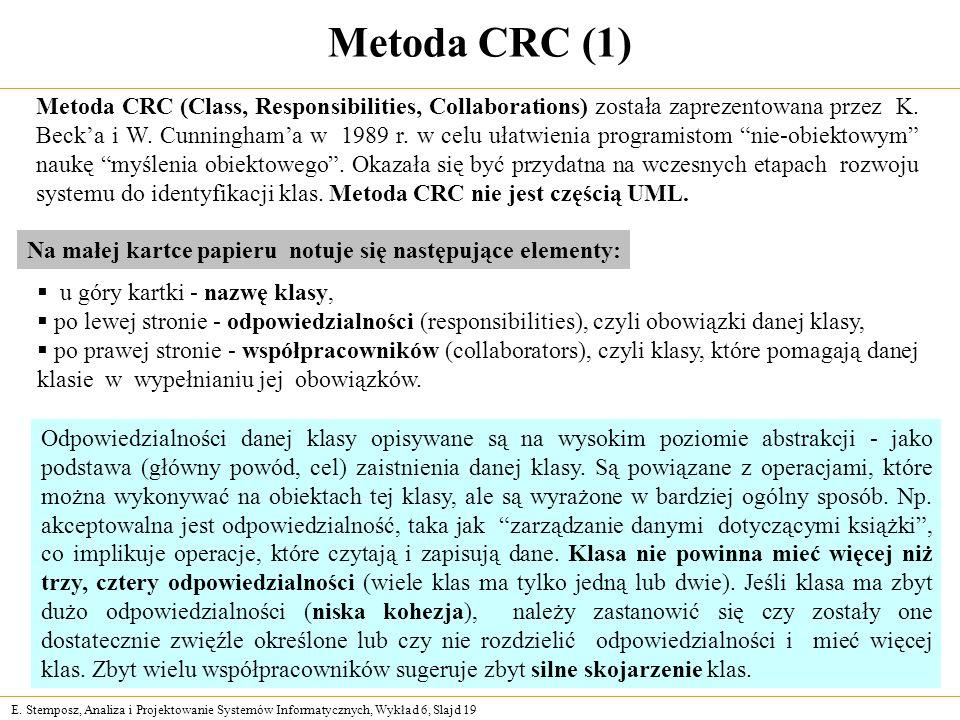 E. Stemposz, Analiza i Projektowanie Systemów Informatycznych, Wykład 6, Slajd 19 Metoda CRC (1) Metoda CRC (Class, Responsibilities, Collaborations)