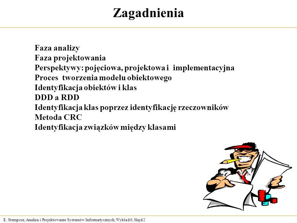 E. Stemposz, Analiza i Projektowanie Systemów Informatycznych, Wykład 6, Slajd 2 Zagadnienia Faza analizy Faza projektowania Perspektywy: pojęciowa, p