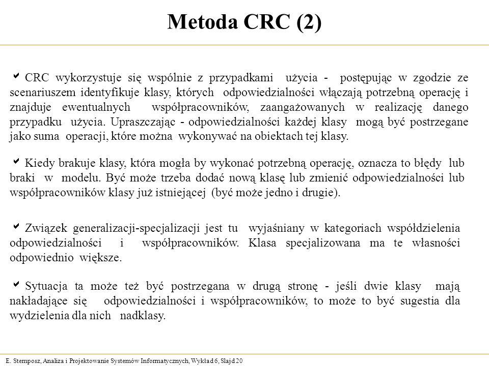 E. Stemposz, Analiza i Projektowanie Systemów Informatycznych, Wykład 6, Slajd 20 Metoda CRC (2) CRC wykorzystuje się wspólnie z przypadkami użycia -