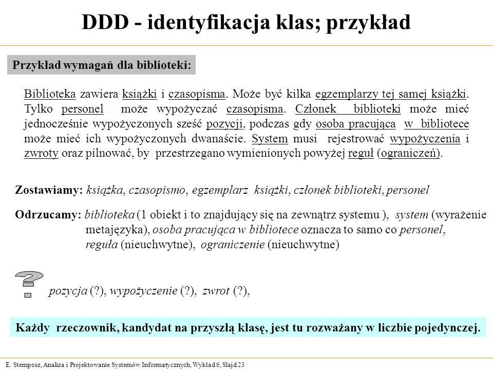 E. Stemposz, Analiza i Projektowanie Systemów Informatycznych, Wykład 6, Slajd 23 DDD - identyfikacja klas; przykład Przykład wymagań dla biblioteki: