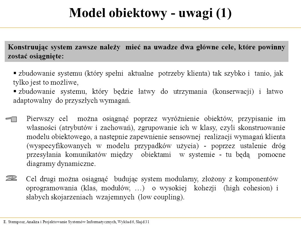 E. Stemposz, Analiza i Projektowanie Systemów Informatycznych, Wykład 6, Slajd 31 Model obiektowy - uwagi (1) Konstruując system zawsze należy mieć na