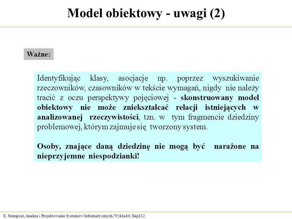 E. Stemposz, Analiza i Projektowanie Systemów Informatycznych, Wykład 6, Slajd 32 Model obiektowy - uwagi (2) Identyfikując klasy, asocjacje np. poprz