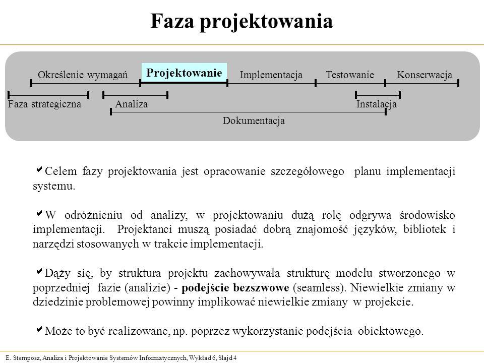 E. Stemposz, Analiza i Projektowanie Systemów Informatycznych, Wykład 6, Slajd 4 Faza projektowania Celem fazy projektowania jest opracowanie szczegół