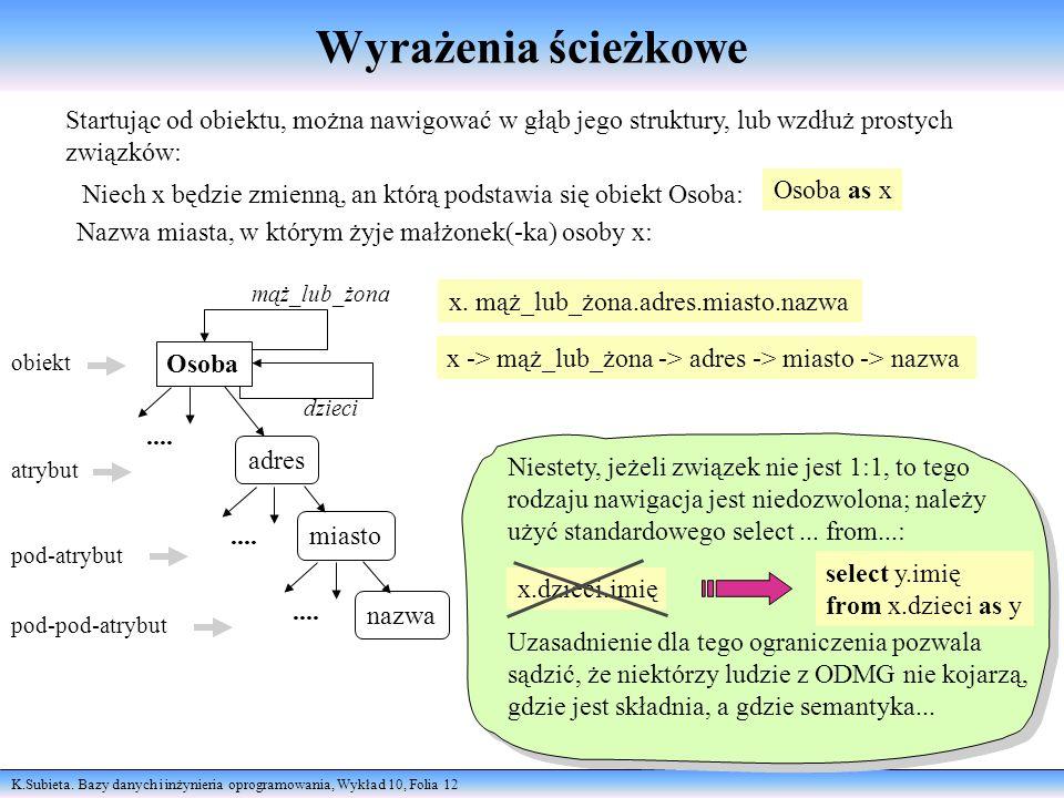 K.Subieta. Bazy danych i inżynieria oprogramowania, Wykład 10, Folia 12 Wyrażenia ścieżkowe Startując od obiektu, można nawigować w głąb jego struktur