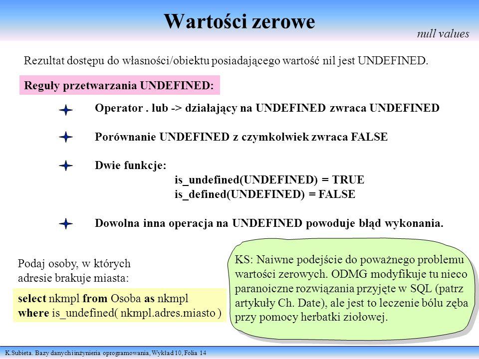 K.Subieta. Bazy danych i inżynieria oprogramowania, Wykład 10, Folia 14 Wartości zerowe null values Rezultat dostępu do własności/obiektu posiadająceg