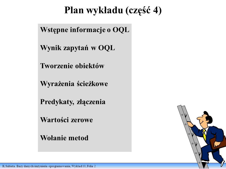 K.Subieta. Bazy danych i inżynieria oprogramowania, Wykład 10, Folia 2 Plan wykładu (część 4) Wstępne informacje o OQL Wynik zapytań w OQL Tworzenie o