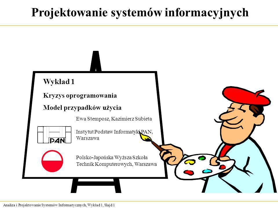 Analiza i Projektowanie Systemów Informatycznych, Wykład 1, Slajd 1 Projektowanie systemów informacyjnych Ewa Stemposz, Kazimierz Subieta Instytut Pod