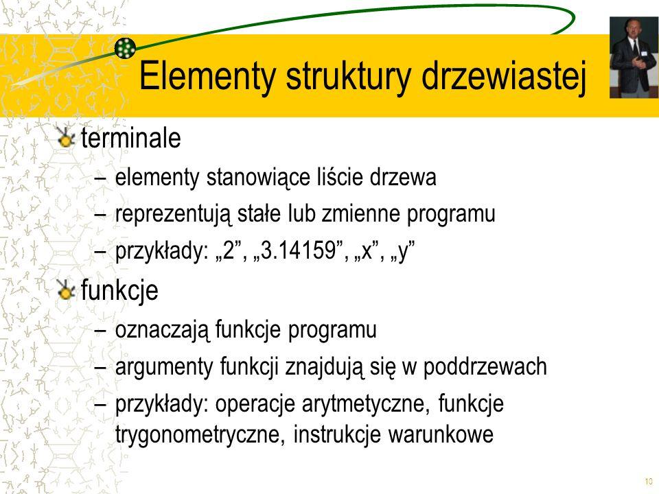 10 Elementy struktury drzewiastej terminale –elementy stanowiące liście drzewa –reprezentują stałe lub zmienne programu –przykłady: 2, 3.14159, x, y f