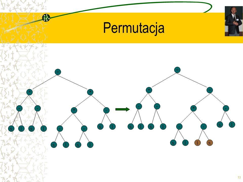 13 Permutacja + * x -- * 1x1-- x1x1 *- x1 + * x -- + 1x1-- x11x *- x1