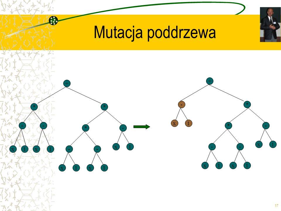 17 Mutacja poddrzewa + * x -- * 1x1-- x1x1 *- x1 + * -- x1x1 *- x1 - x1