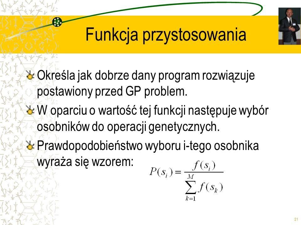 21 Funkcja przystosowania Określa jak dobrze dany program rozwiązuje postawiony przed GP problem. W oparciu o wartość tej funkcji następuje wybór osob