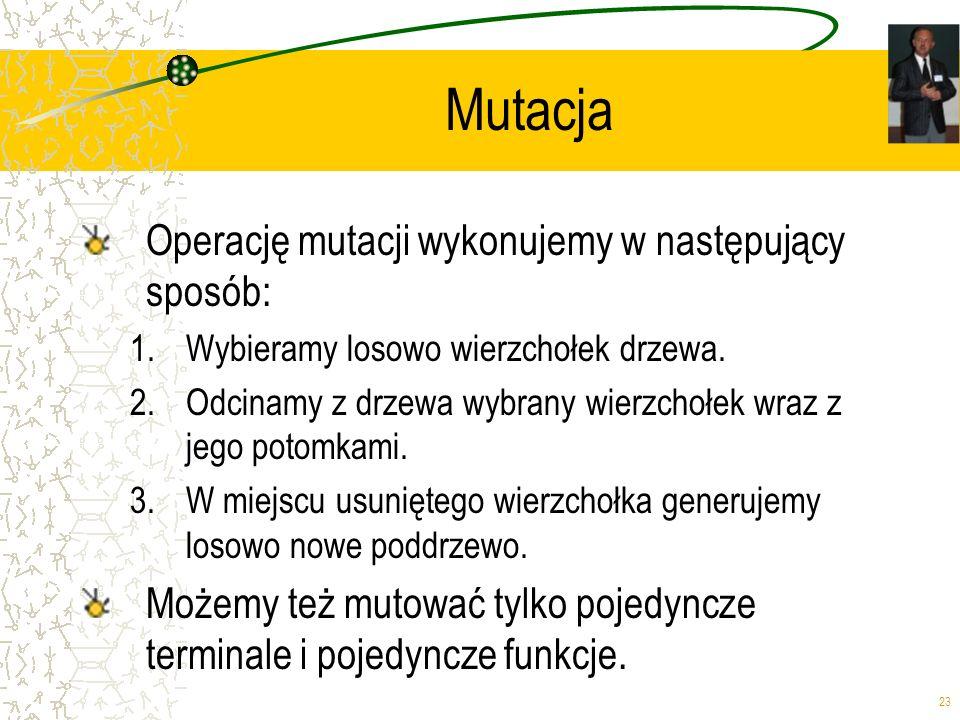 23 Mutacja Operację mutacji wykonujemy w następujący sposób: 1.Wybieramy losowo wierzchołek drzewa. 2.Odcinamy z drzewa wybrany wierzchołek wraz z jeg
