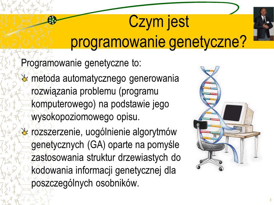 3 Czym jest programowanie genetyczne? Programowanie genetyczne to: metoda automatycznego generowania rozwiązania problemu (programu komputerowego) na