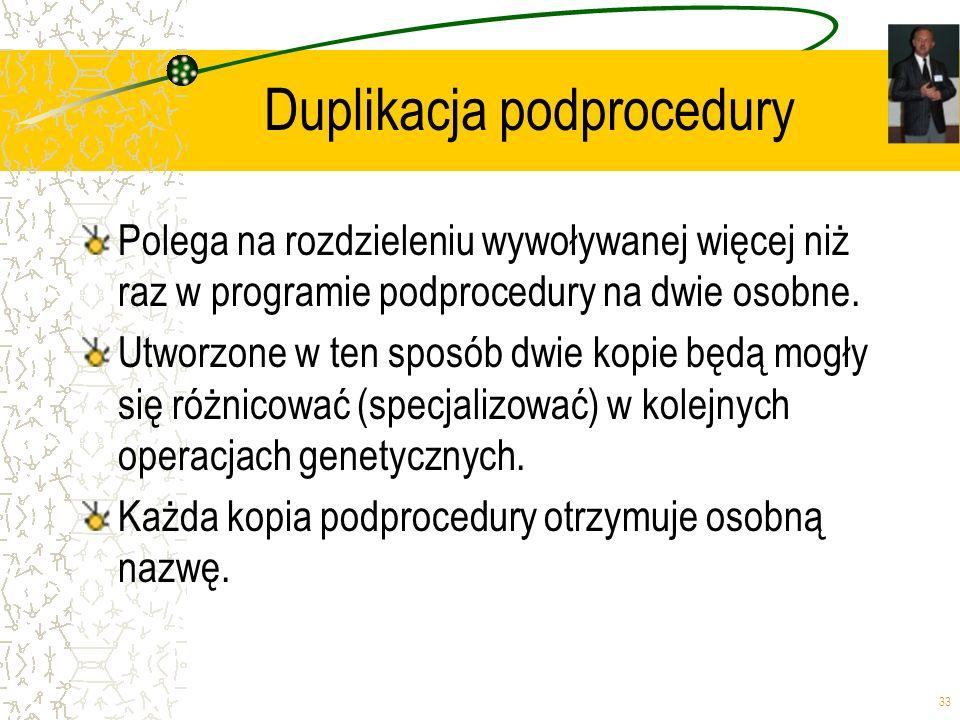 33 Duplikacja podprocedury Polega na rozdzieleniu wywoływanej więcej niż raz w programie podprocedury na dwie osobne. Utworzone w ten sposób dwie kopi