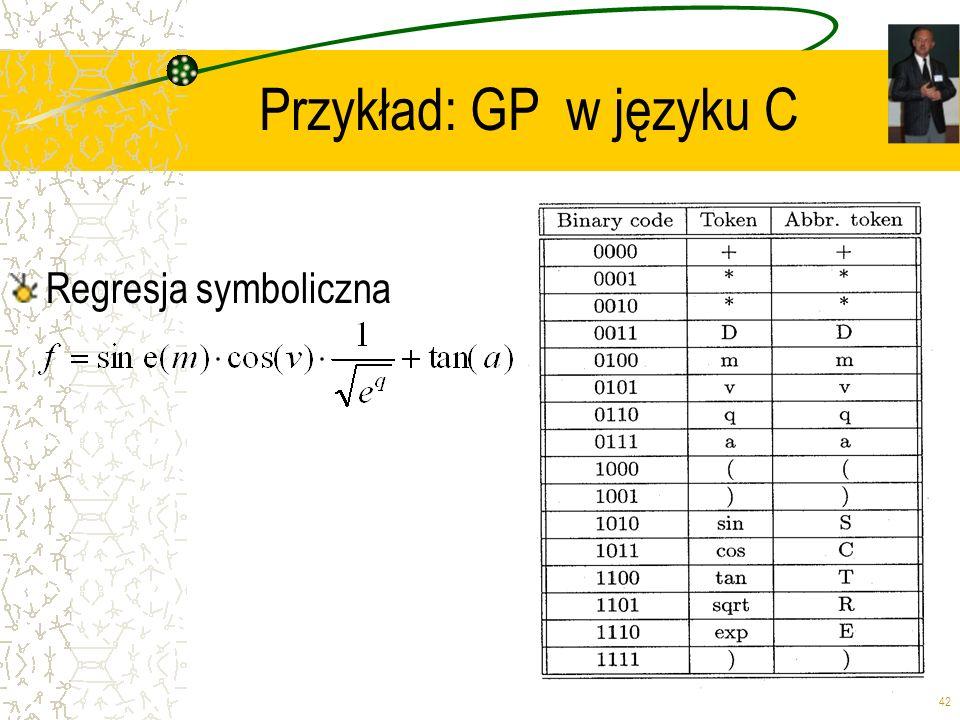 42 Przykład: GP w języku C Regresja symboliczna