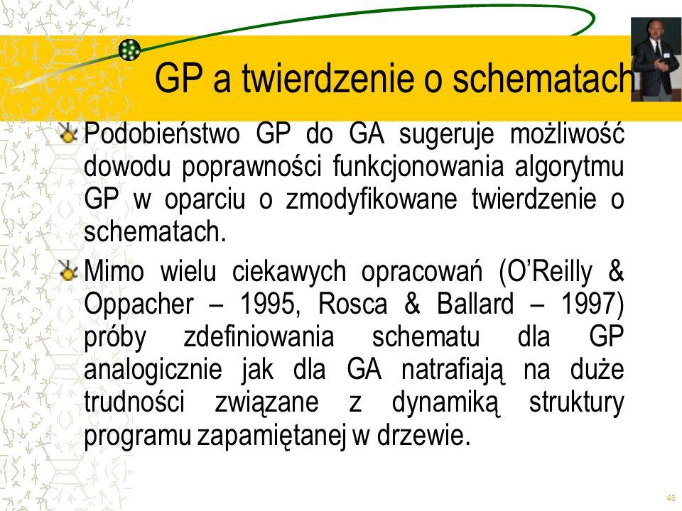 46 GP a twierdzenie o schematach Podobieństwo GP do GA sugeruje możliwość dowodu poprawności funkcjonowania algorytmu GP w oparciu o zmodyfikowane twi
