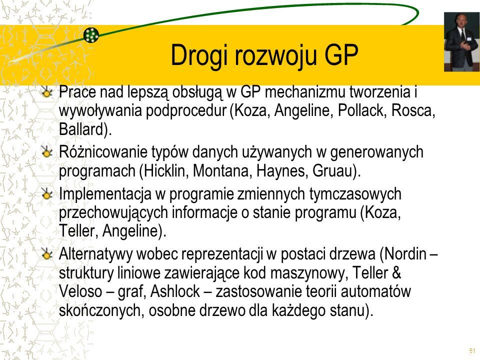 51 Drogi rozwoju GP Prace nad lepszą obsługą w GP mechanizmu tworzenia i wywoływania podprocedur (Koza, Angeline, Pollack, Rosca, Ballard). Różnicowan