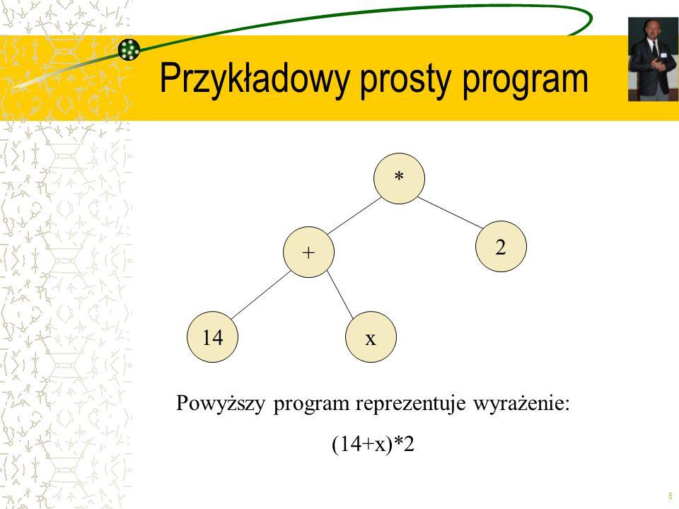 6 Przykładowy prosty program * + 2 14x Powyższy program reprezentuje wyrażenie: (14+x)*2