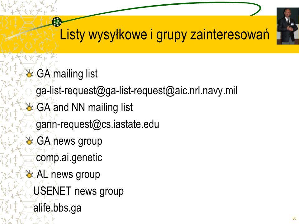 80 Listy wysyłkowe i grupy zainteresowań GA mailing list ga-list-request@ga-list-request@aic.nrl.navy.mil GA and NN mailing list gann-request@cs.iasta