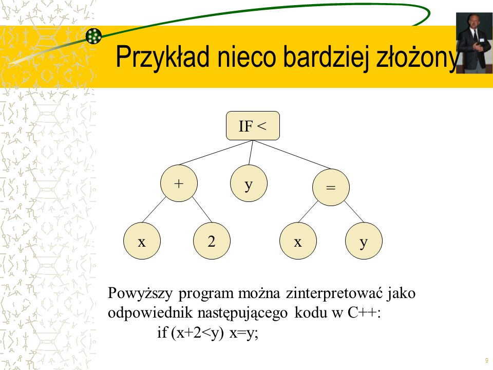9 Przykład nieco bardziej złożony = xy +y Powyższy program można zinterpretować jako odpowiednik następującego kodu w C++: if (x+2<y) x=y; IF < x2