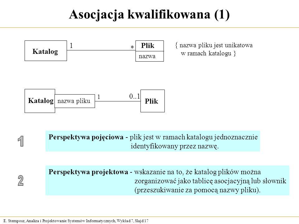 E. Stemposz, Analiza i Projektowanie Systemów Informatycznych, Wykład 7, Slajd 17 Asocjacja kwalifikowana (1) Katalog Plik nazwa 1 * { nazwa pliku jes