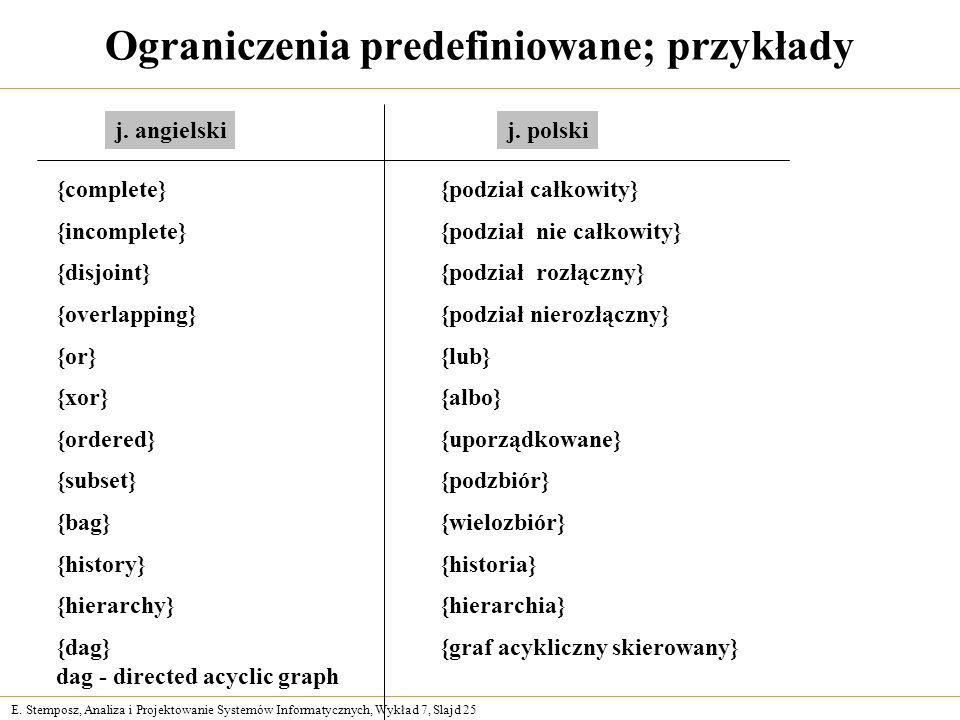 E. Stemposz, Analiza i Projektowanie Systemów Informatycznych, Wykład 7, Slajd 25 Ograniczenia predefiniowane; przykłady {complete} {podział całkowity