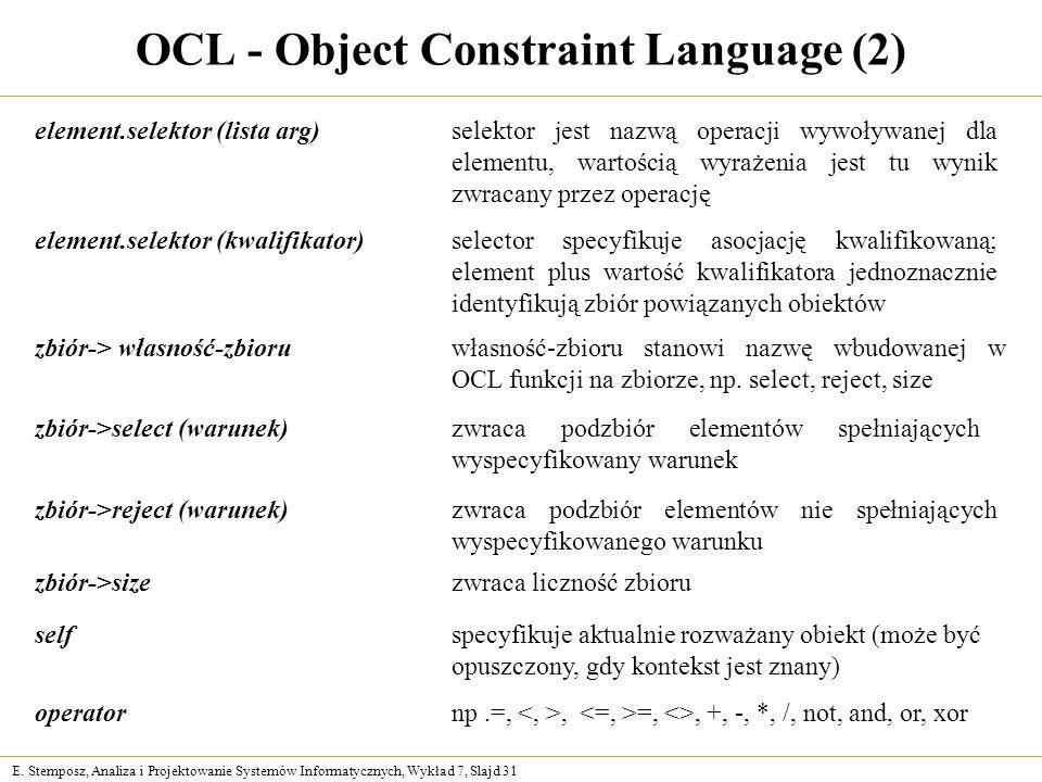 E. Stemposz, Analiza i Projektowanie Systemów Informatycznych, Wykład 7, Slajd 31 OCL - Object Constraint Language (2) element.selektor (lista arg)sel