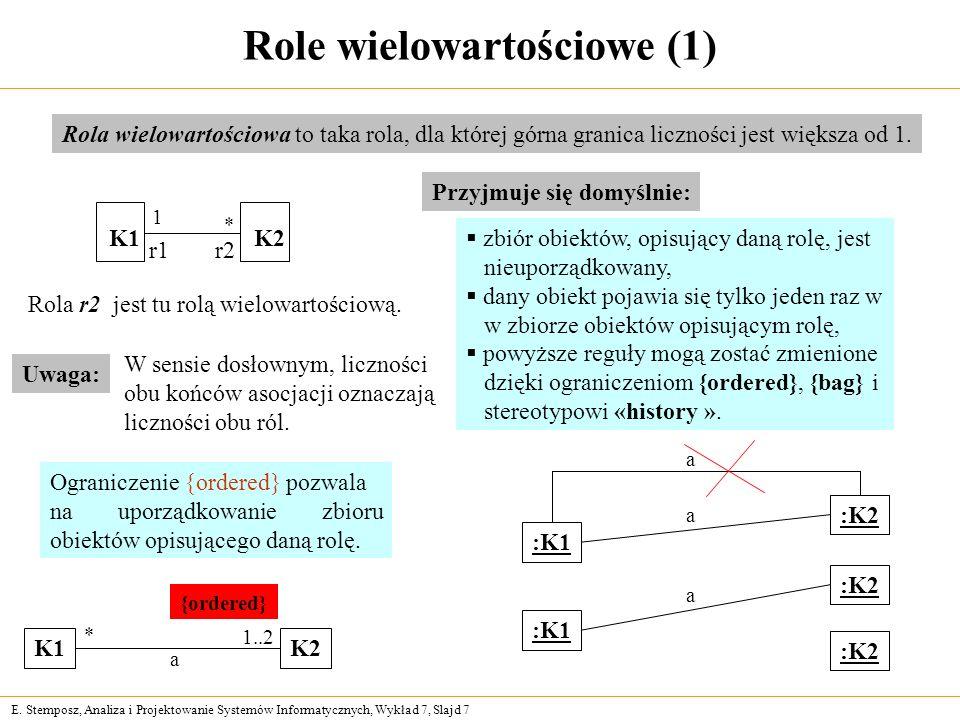 E. Stemposz, Analiza i Projektowanie Systemów Informatycznych, Wykład 7, Slajd 7 Role wielowartościowe (1) Rola wielowartościowa to taka rola, dla któ