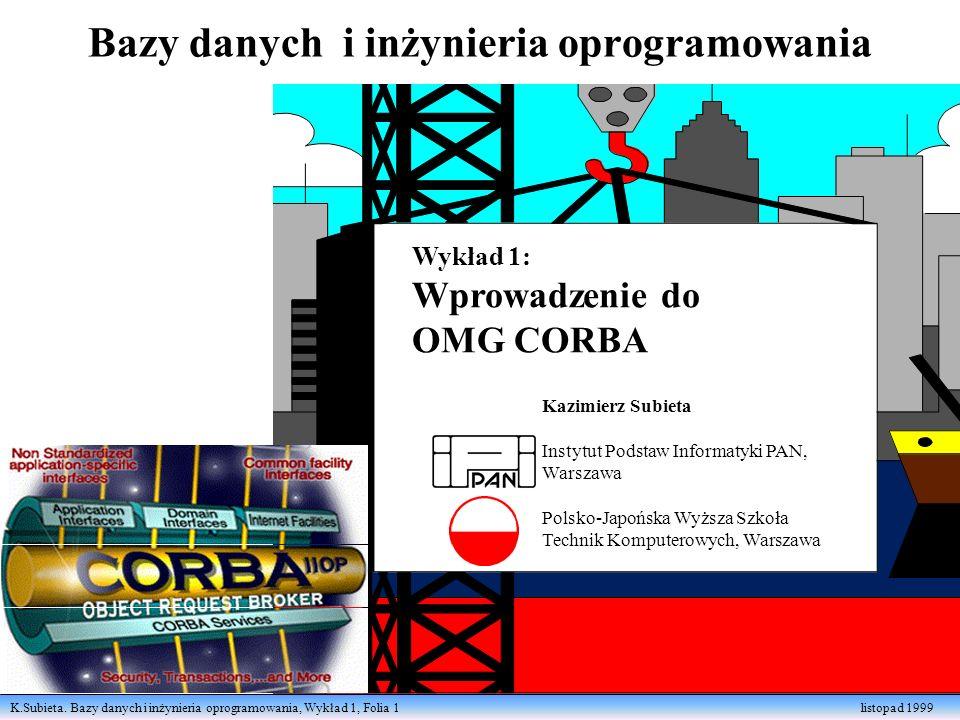 K.Subieta. Bazy danych i inżynieria oprogramowania, Wykład 1, Folia 1 listopad 1999 Bazy danych i inżynieria oprogramowania Kazimierz Subieta Instytut