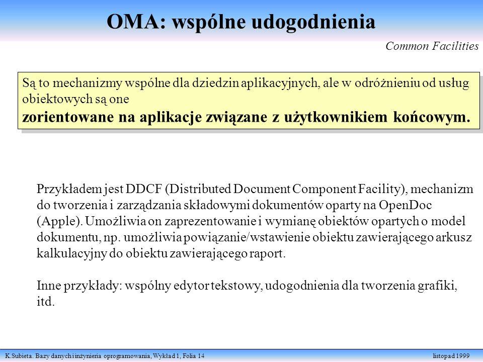 K.Subieta. Bazy danych i inżynieria oprogramowania, Wykład 1, Folia 14 listopad 1999 Są to mechanizmy wspólne dla dziedzin aplikacyjnych, ale w odróżn