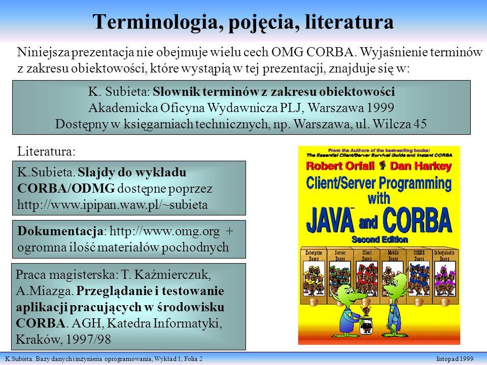 K.Subieta. Bazy danych i inżynieria oprogramowania, Wykład 1, Folia 2 listopad 1999 Terminologia, pojęcia, literatura Niniejsza prezentacja nie obejmu