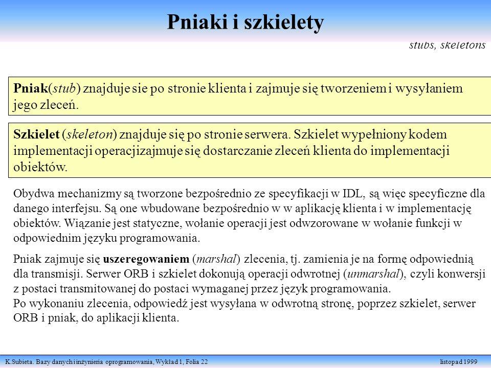 K.Subieta. Bazy danych i inżynieria oprogramowania, Wykład 1, Folia 22 listopad 1999 stubs, skeletons Pniak(stub) znajduje sie po stronie klienta i za