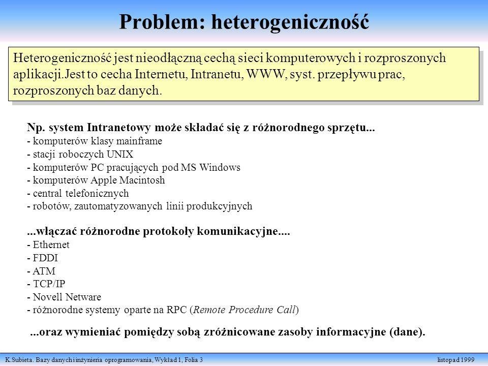 K.Subieta. Bazy danych i inżynieria oprogramowania, Wykład 1, Folia 3 listopad 1999 Problem: heterogeniczność Heterogeniczność jest nieodłączną cechą