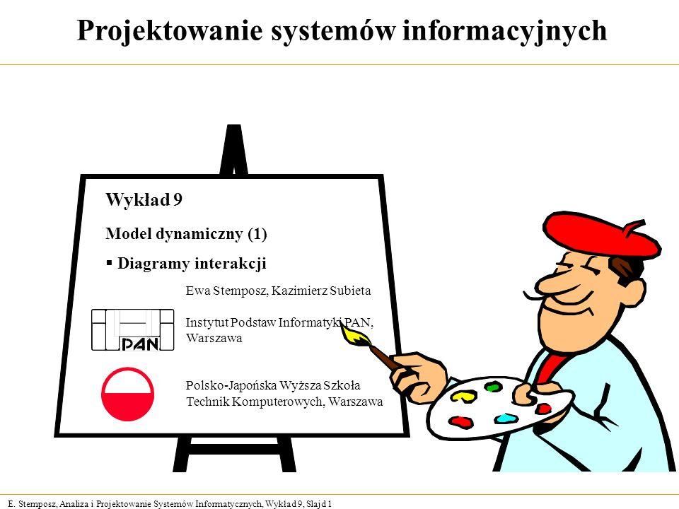E. Stemposz, Analiza i Projektowanie Systemów Informatycznych, Wykład 9, Slajd 1 Projektowanie systemów informacyjnych Ewa Stemposz, Kazimierz Subieta