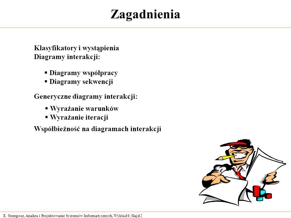 E. Stemposz, Analiza i Projektowanie Systemów Informatycznych, Wykład 9, Slajd 2 Zagadnienia Klasyfikatory i wystąpienia Diagramy interakcji: Diagramy