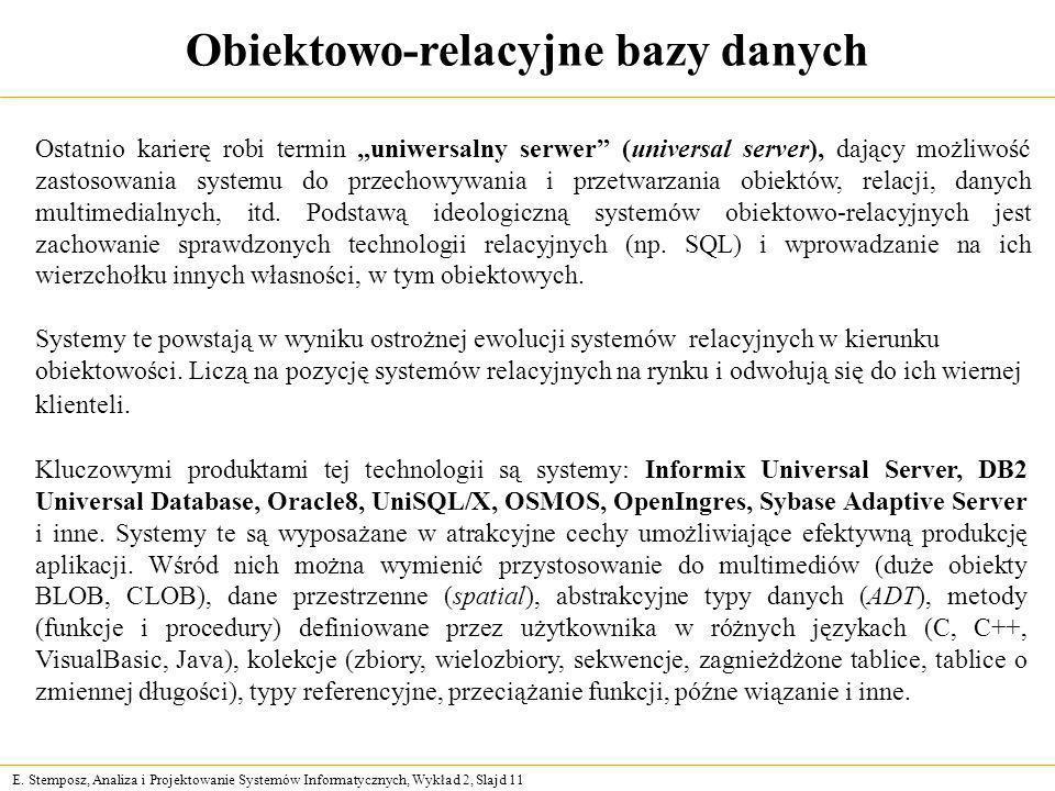 E. Stemposz, Analiza i Projektowanie Systemów Informatycznych, Wykład 2, Slajd 11 Obiektowo-relacyjne bazy danych Ostatnio karierę robi termin uniwers