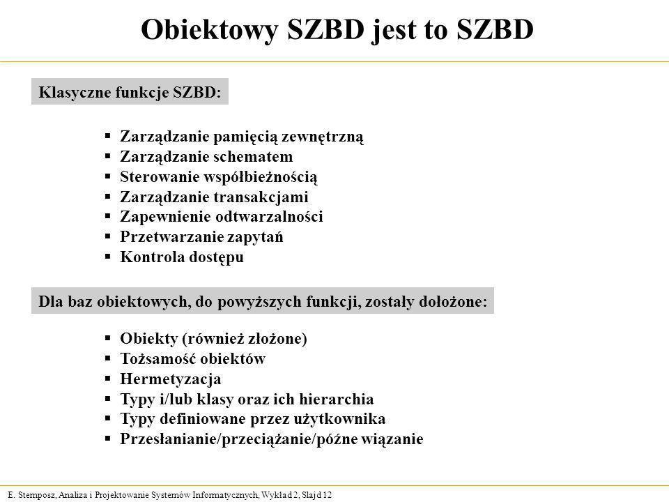 E. Stemposz, Analiza i Projektowanie Systemów Informatycznych, Wykład 2, Slajd 12 Obiektowy SZBD jest to SZBD Zarządzanie pamięcią zewnętrzną Zarządza