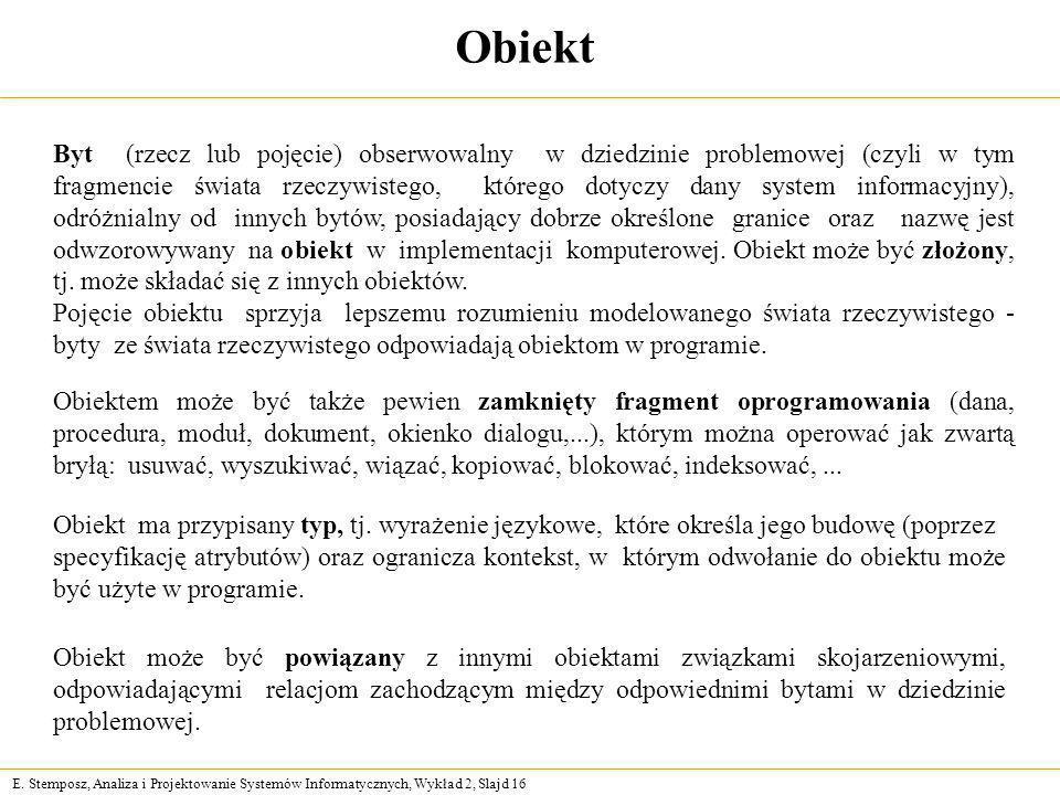 E. Stemposz, Analiza i Projektowanie Systemów Informatycznych, Wykład 2, Slajd 16 Obiekt Byt (rzecz lub pojęcie) obserwowalny w dziedzinie problemowej